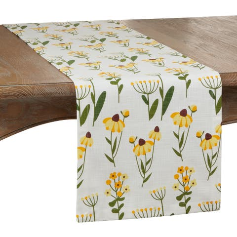 Cotton Table Runner With Daisy Floral Design