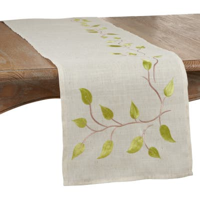 Table Runner with Embroidered Vine Design