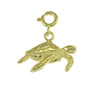 14k Yellow Gold Sea Turtle Charm