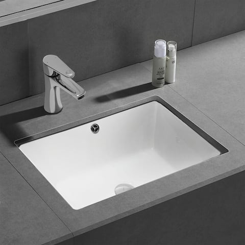 CB HOME Rectangle White Ceramic Porcelain Undermount Bathroom Sink