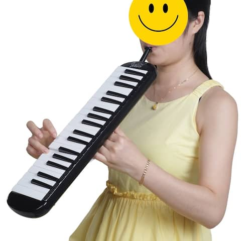 Glarry 37-Key Melodica with Mouthpiece & Hose & Bag black