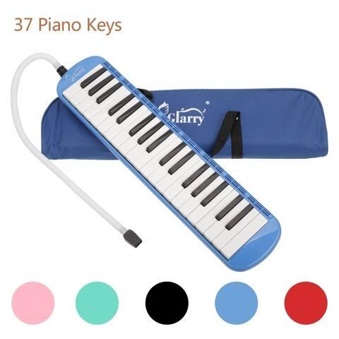 Glarry 37-Key Melodica with Mouthpiece & Hose & Bag Blue