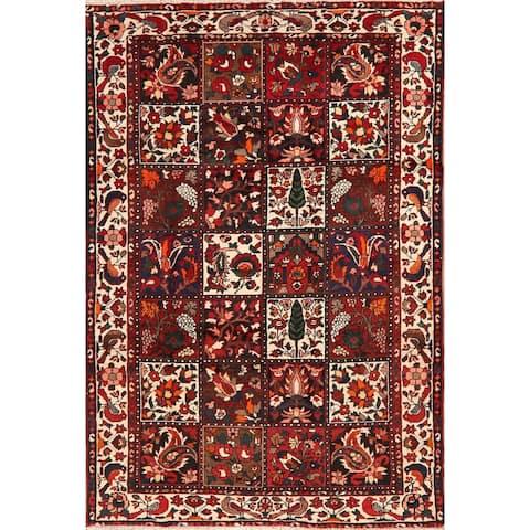 "Vintage Garden Design Bakhtiari Persian Area Rug Handmade Birds Carpet - 4'9"" x 7'1"""