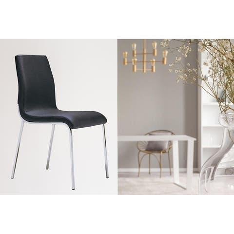 Upholstery Side Dining Chair Leatheratte in Black - N/A