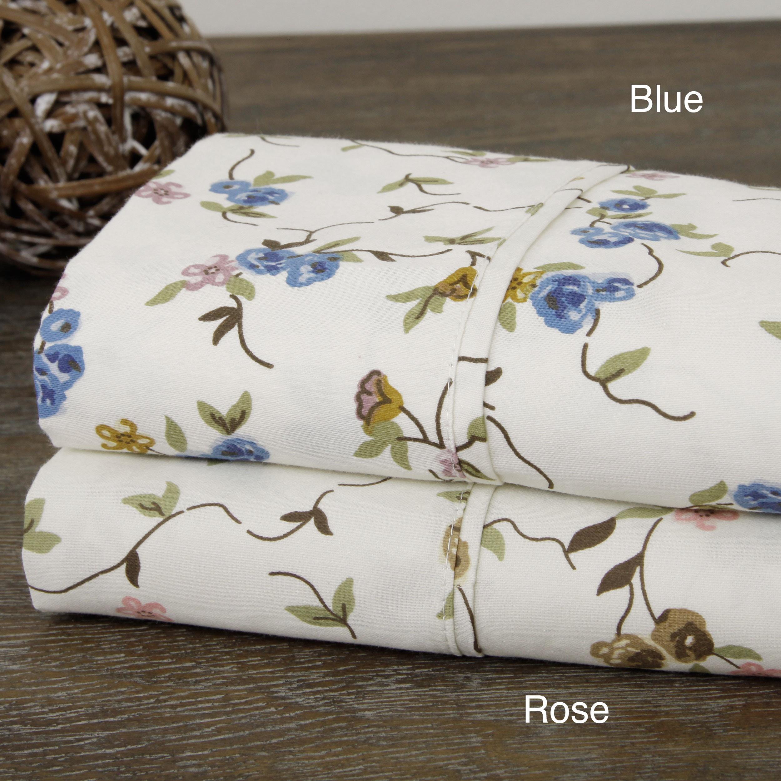 DOPO Floral Print Cotton Blend Sheet Set (King - Rose), Pink