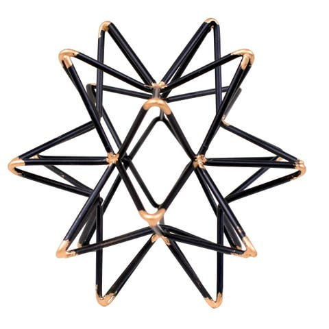 Intersecting Iron Wire Star Decor with Accented Joints, Black and Gold