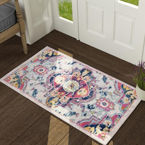 Bohemia & Eclectic Ivory Area Rug with Six Size