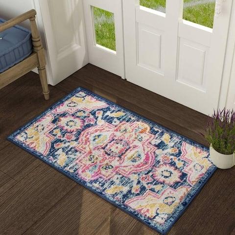 Vintage Area Rug Blue Carpet Rug for Living Room,Bedroom,Dining Room