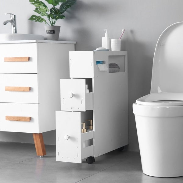 3-tier Movable Bathroom Toilet Storage Cabinets Drawers Organizer