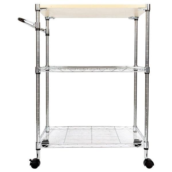 3-Tier Rolling Kitchen Trolley Cart Steel Storage Utility Service