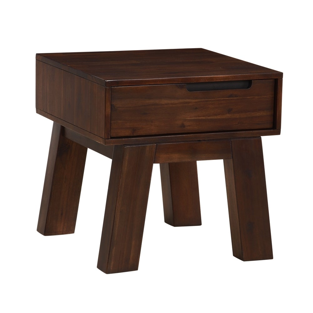 Benzara Acacia Wood End Table with Thick Splayed legs, Brown