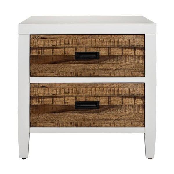 Wooden Nightstand with Two Drawers, White and Brown