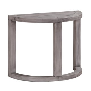 Pine Wood Half Moon End Tables, Pack of Two, Gray