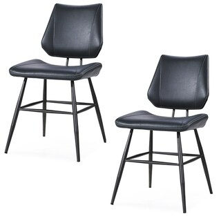 Leather Upholstered Metal Chair with Stitch Details, Set of 2, Black