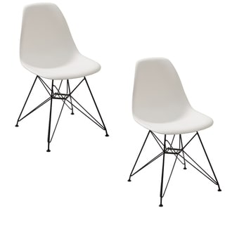 Deep Back Plastic Chair with Metal Eiffel Style Legs, Set of Two, White and Black