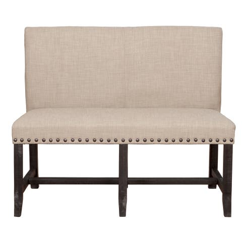 Fabric Upholstered Pine Wood Bench with Nail Head Trim, Black and Beige