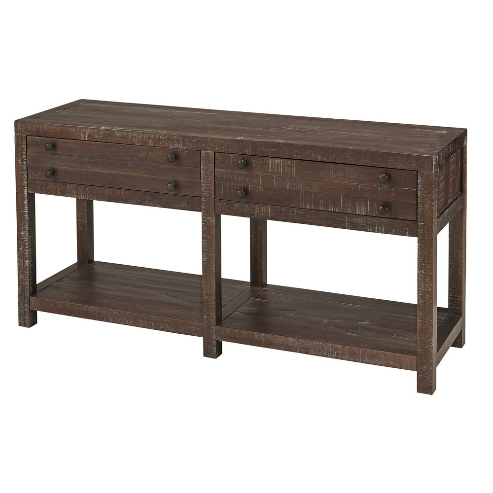 Benzara Wooden Two Drawer Console Table with Bottom Shelf, Brown