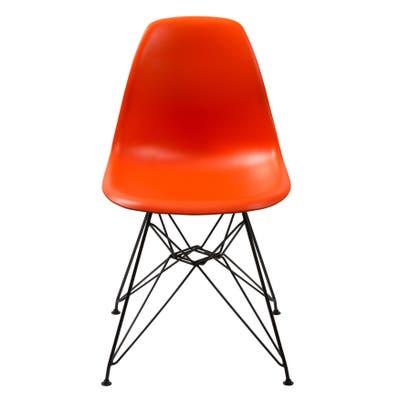 Deep Back Plastic Chair with Metal Eiffel Style Legs, Orange and Black