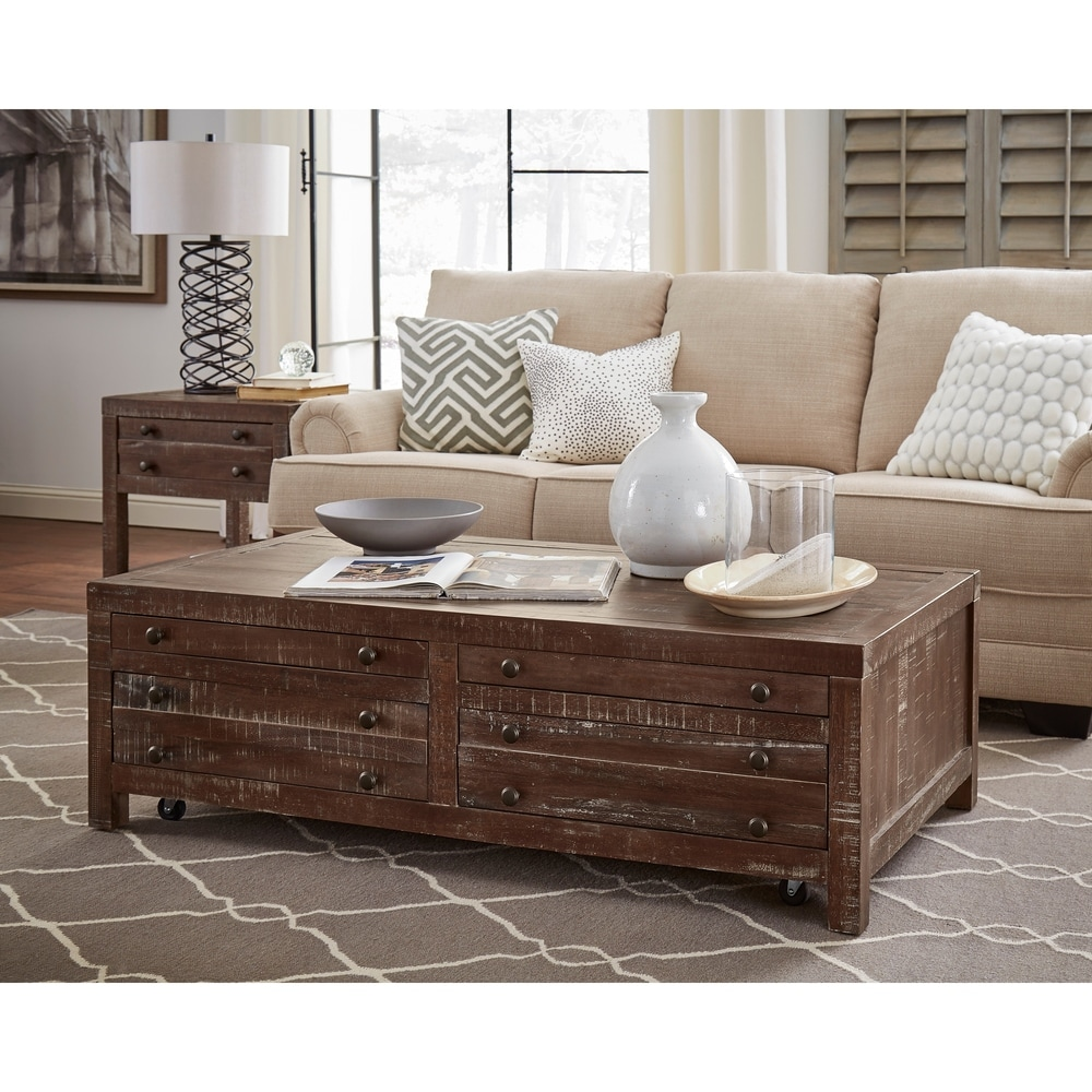 Benzara Wooden Four Drawer Coffee Table with Metal Knob Pull, Brown