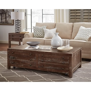 Wooden Four Drawer Coffee Table with Metal Knob Pull, Brown