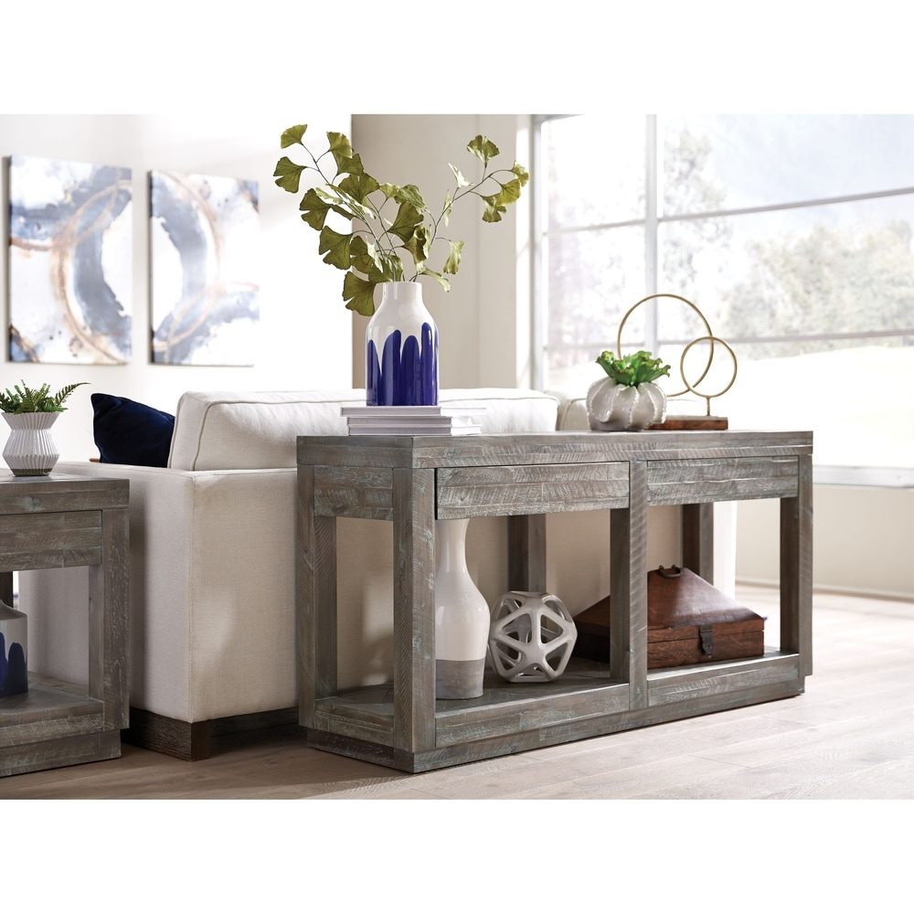Benzara Two Drawer and Bottom Shelf Console Table with Flattened Base, Rustic Latte Gray