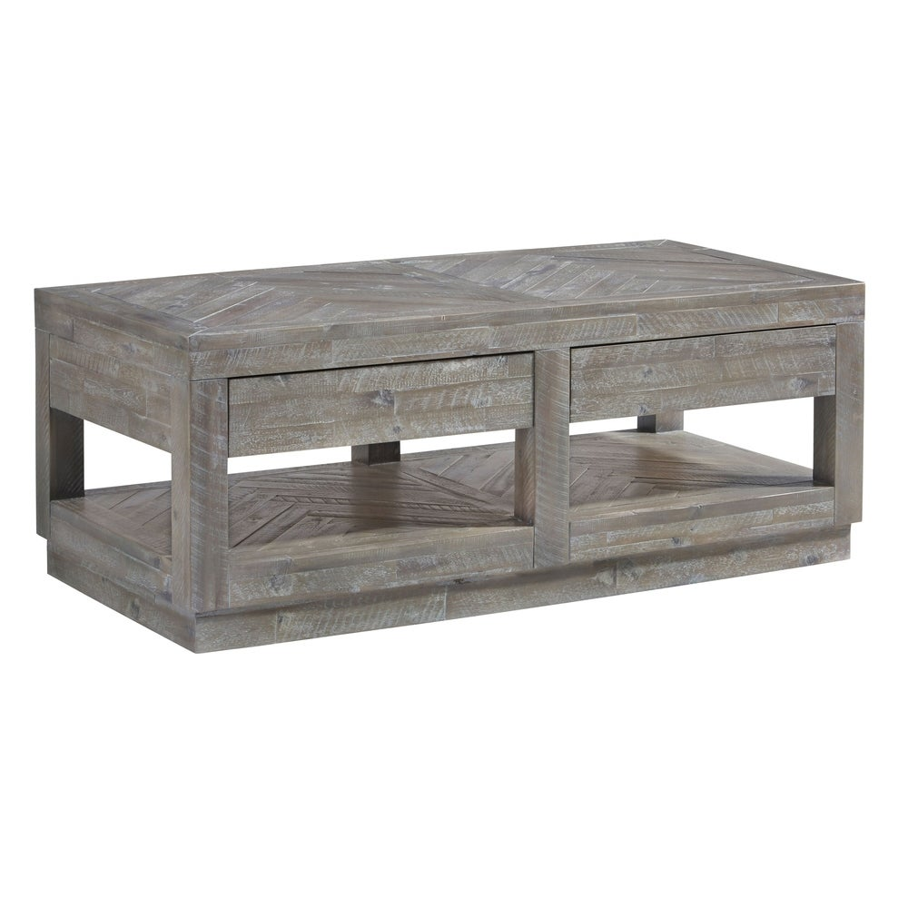 Benzara Two Drawer and Bottom Shelf Coffee Table with Flattened Base, Rustic Latte Gray