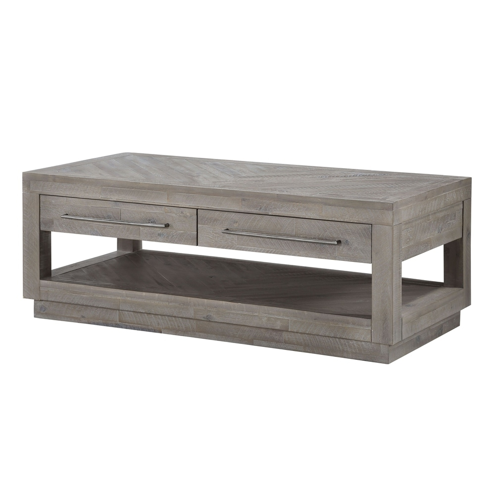 Benzara Two Drawer and One Bottom Shelf Coffee Table with Metal Handle Pull, Rustic Latte Gray