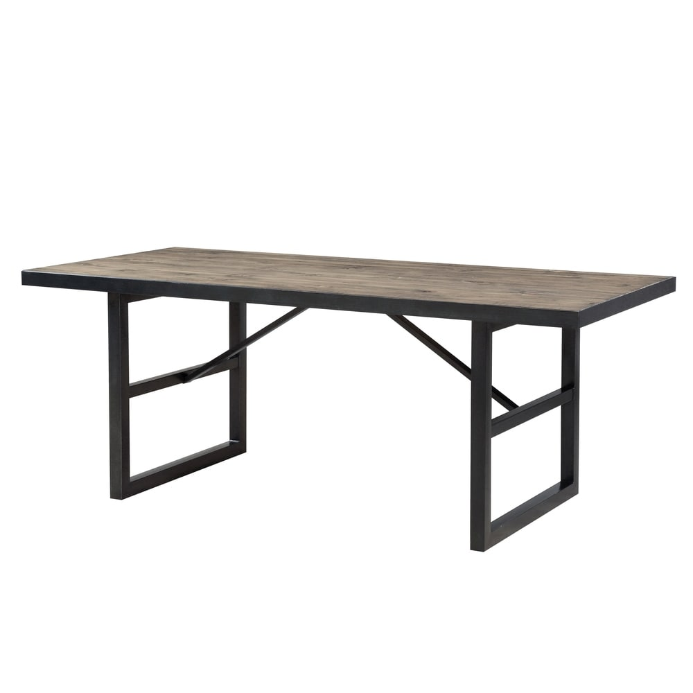 Benzara Solid Pine Wood Rectangular Table top Drift Table with Metal Base, Rustic Brown