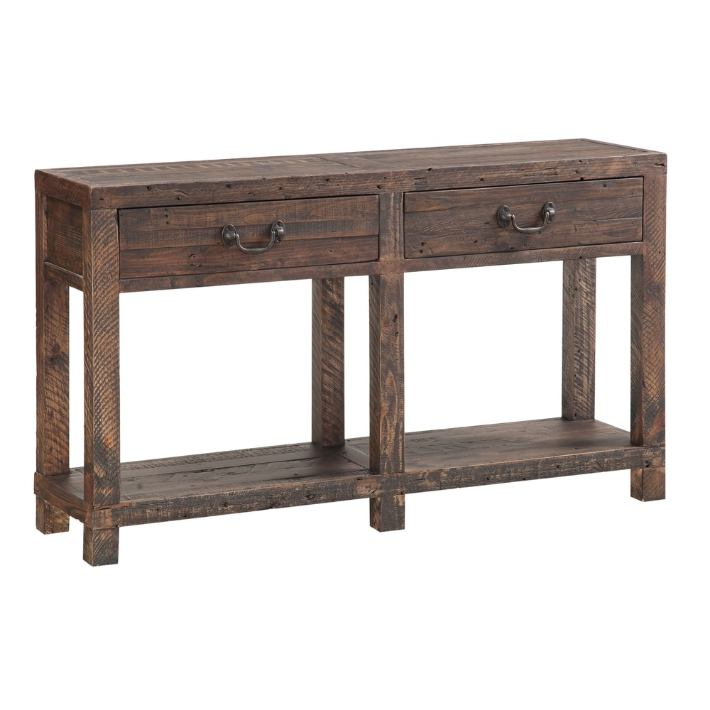 Benzara Wooden Console Table with Two Drawers and One Open Shelf, Taupe Brown