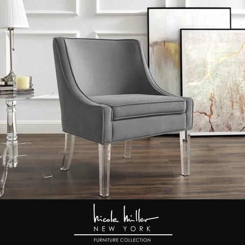 Huxley Velvet Armless Accent Chair Acrylic Leg