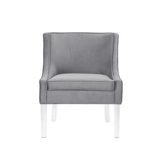 Nicole Miller Huxley Velvet Armless Accent Chair Acrylic Leg (Light Grey)