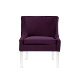 Nicole Miller Huxley Velvet Armless Accent Chair Acrylic Leg (Purple)