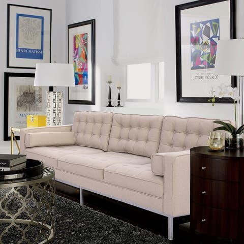 Kahlo Linen Traditional Mid-Century Button Tufted Sofa