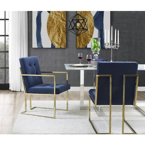 Astor Dining Chair Button Tufted (Set of 2) - arm chair - arm chair