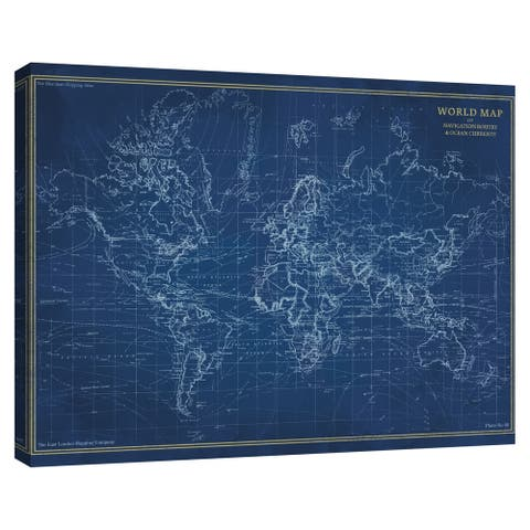 Navigator World Map by The Vintage Collection Canvas Art Print