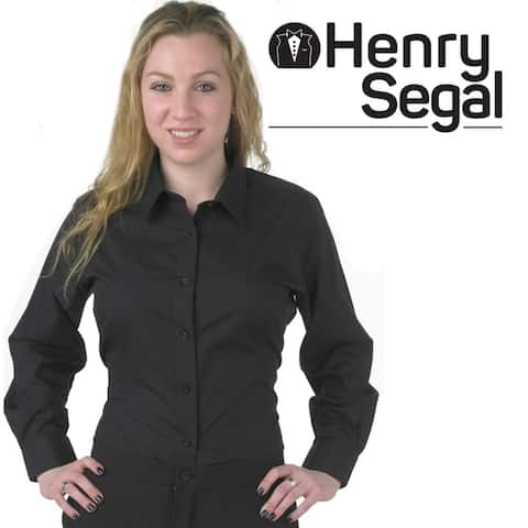 Henry Segal Woman's Long Sleeve Black Collared Form Fitted Dress Shirt