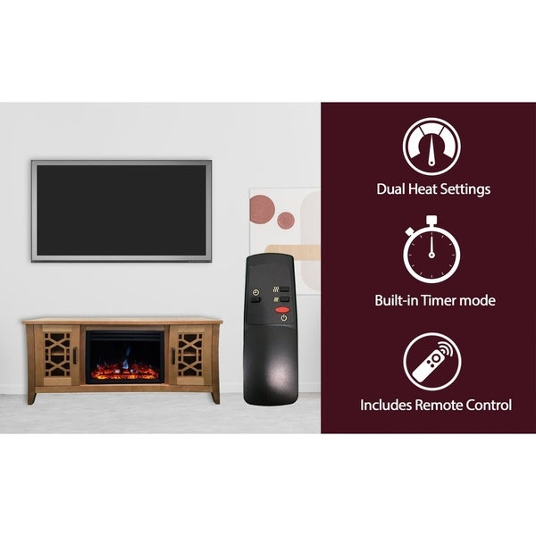 Cambridge 56-in. Stardust Mid-Century Modern Electric Fireplace with Deep Multi-Color Log Insert, Natural Wood