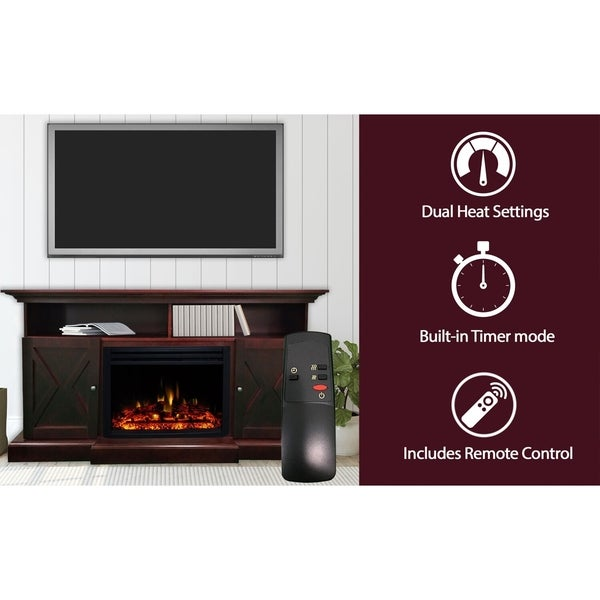 Cambridge 62-in. Summit Farmhouse Style Electric Fireplace Mantel with Deep Log Insert, Mahogany - N/A