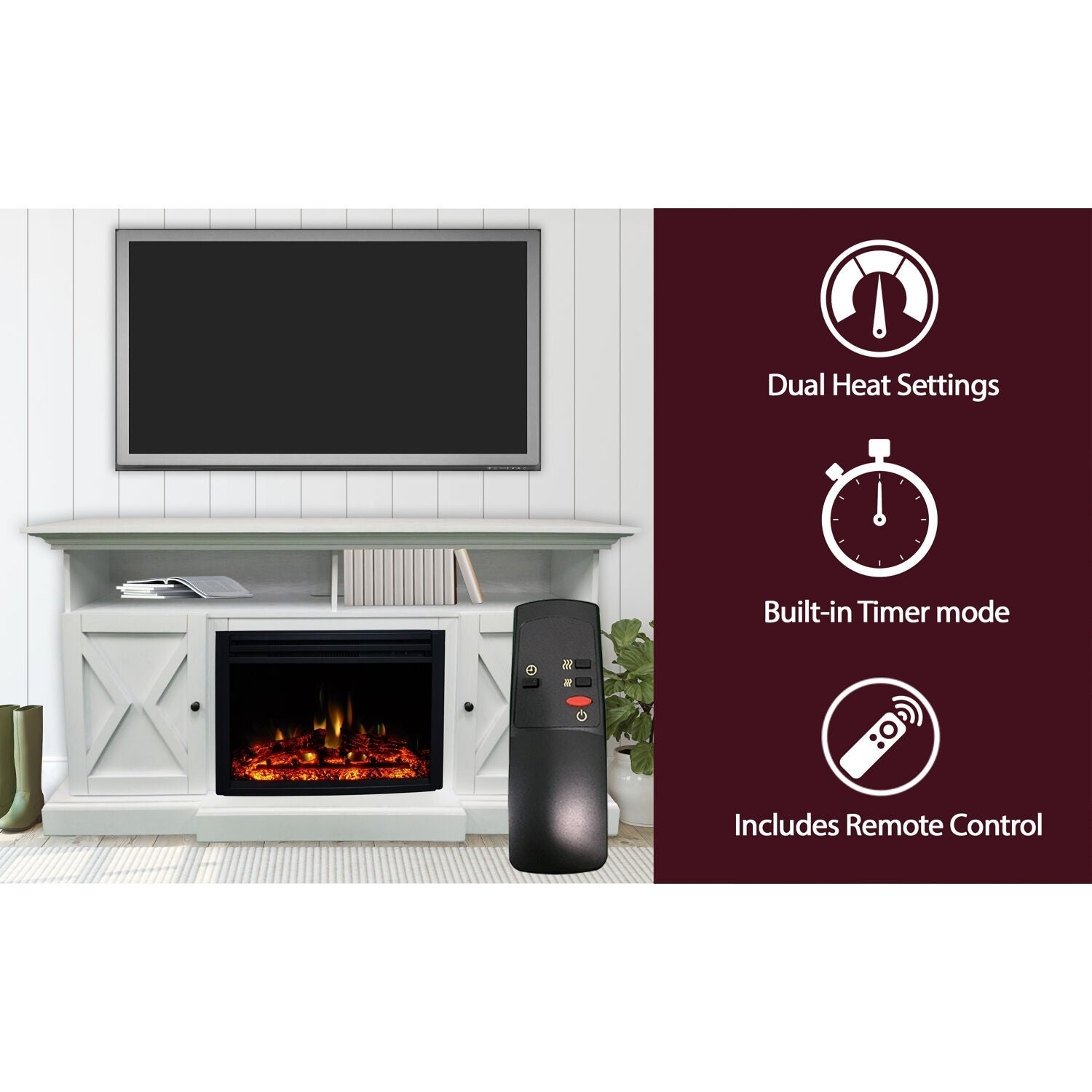 Cambridge 62 In Summit Farmhouse Style Electric Fireplace Mantel With Deep Log Insert White N A Overstock 30631361