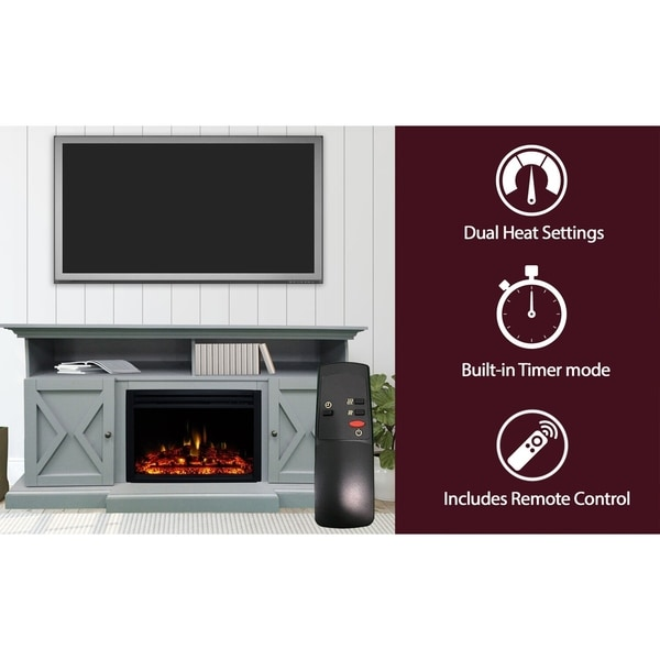 Cambridge 62-in. Summit Farmhouse Style Electric Fireplace Mantel with Deep Log Insert,Slate Blue
