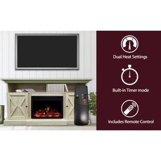 Cambridge 62-in. Summit Farmhouse Style Electric Fireplace Mantel with Deep Log Insert, Sandstone