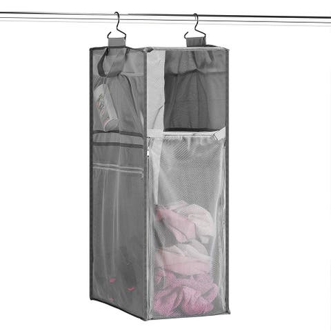 Hanging Mesh Laundry Hamper and Storage, Collapsible Laundry Basket,