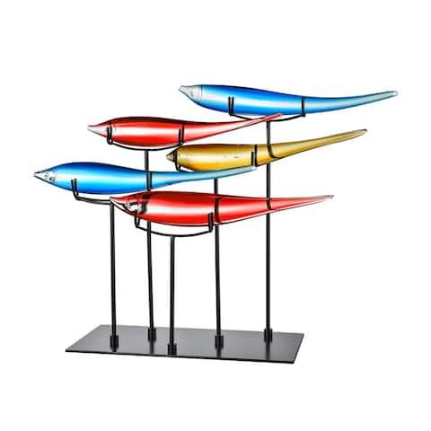5 Multicolor Fish Handcrafted Art Glass Figurine
