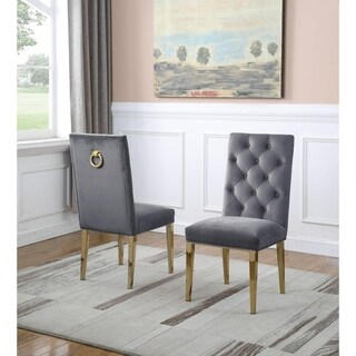 Link to Best Quality Furniture Button Tufted Back Side Chairs with Gold Stainless Steel Legs Similar Items in Accent Chairs