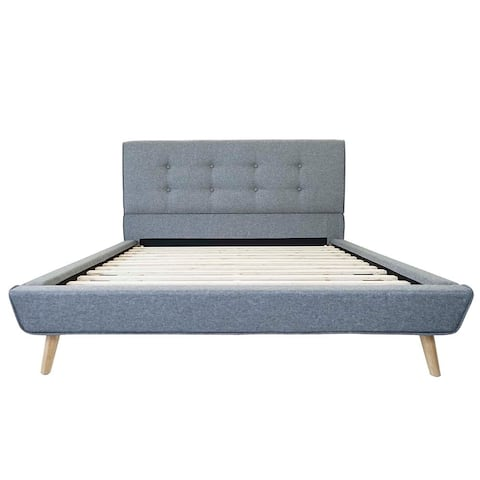 Carson Carrington Ingesarfvet Mid-century Tufted Linen Platform Bed Frame