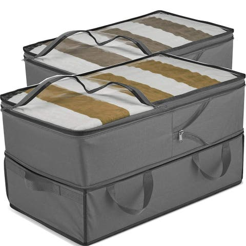Large Capacity Clothes Storage Bags (2 Pack) Expandable & Adjustable Underbed Storage Containers, Comforter Blanket Storage Box