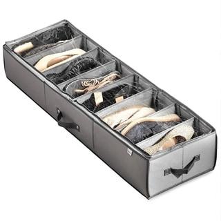 Rigid Underbed Shoe Organizer with Adjustable Dividers (8 Slots/Pairs), Underbed Storage, Underbed Shoe Storage Organizer