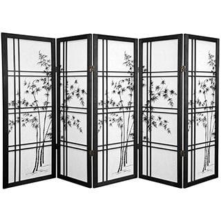 Handmade Wood and Rice Paper Bamboo Tree Shoji Screen (China) - 48 x 70