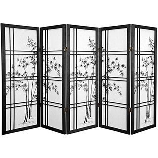Handmade Wood and Rice Paper Bamboo Tree Shoji Screen (China) - 48 x 70