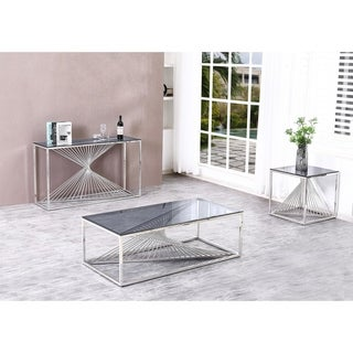 Overstock Best Quality Furniture 3-Piece Coffee Table Set with Stainless Steel Base and Smoke Glass Top (Silver)
